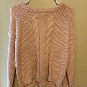 pink cable crew sweater with adjustable bow:)